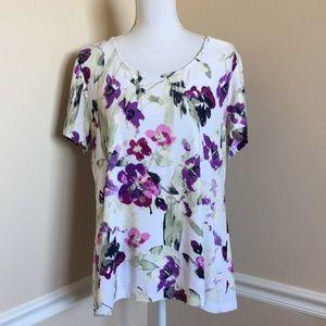 croft & barrow Textured Floral Top
